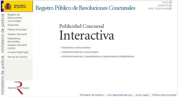 Página inicial del RRC